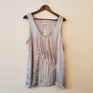 Gap silky gray ruffles tank blouse cami XL